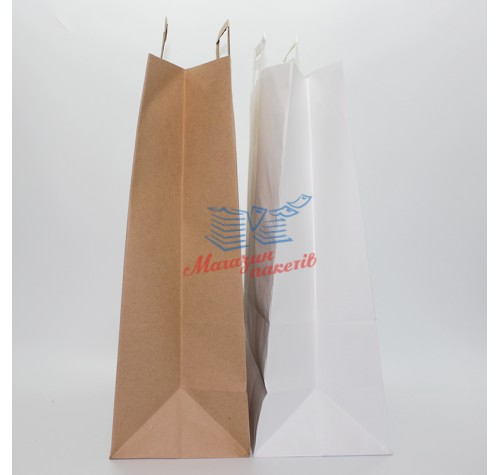Пакет крафт БІЛИЙ 320х420х150мм кручена ручка